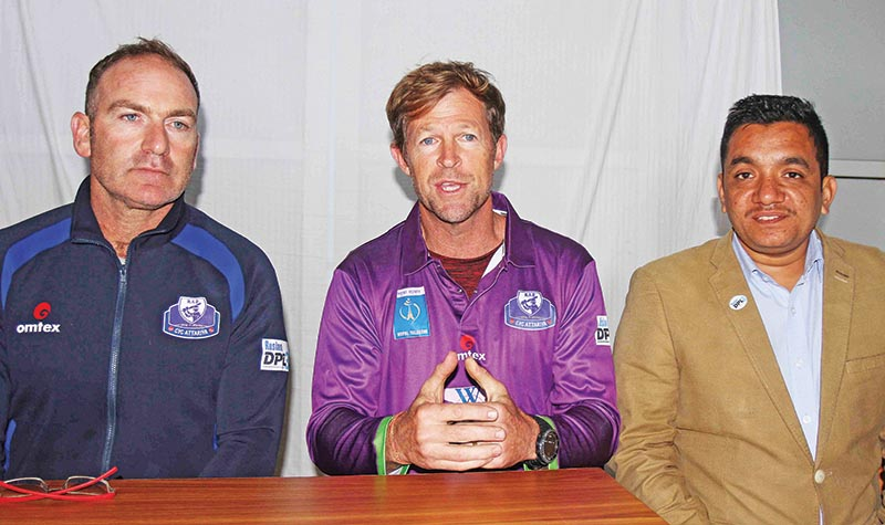 Legendary South African cricketer Jonty Rhodes (centre) speaks as former Afghanistan and West Indies fielding coach Ryan Maron (left) and President of Dhangadhi Cricket Academy Subash Bahadur Shahi look on during a press meet in Dhangadhi on Tuesday. Photo: THT