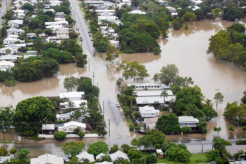 An aerial view shows flood waters in the suburb of Hyde Park, Townsville, North Queensland, Australia, February 4, 2019. Photo: Reuters