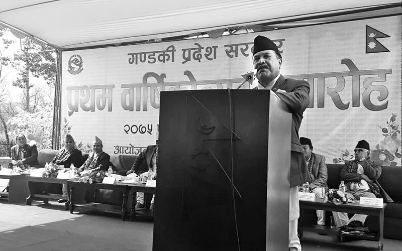 Gandaki Province Governor Baburam Kunwar speaking at a progamme, in Pokhara, on Saturday. Photo: THT