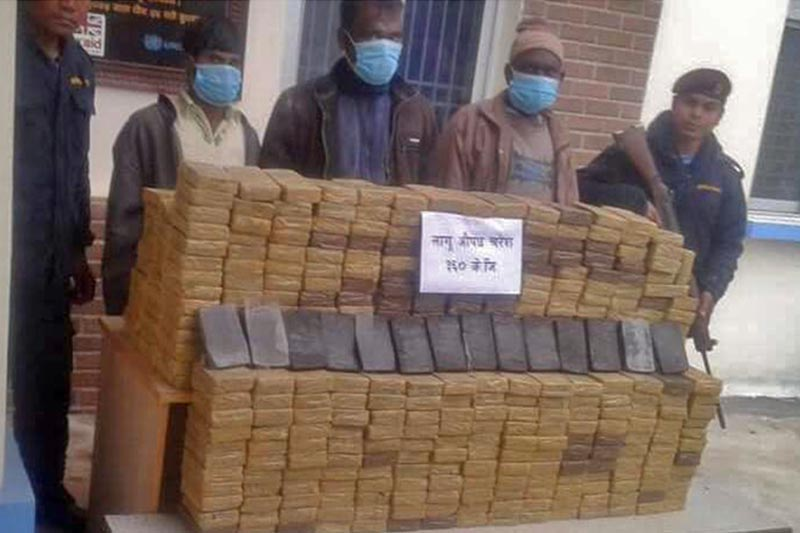 Police making public the arrestees and confiscated hashish at Area Police Office, Gajuri, in Dhading district, on Sunday, February, 2019. Photo: Keshav Adhikari/THT