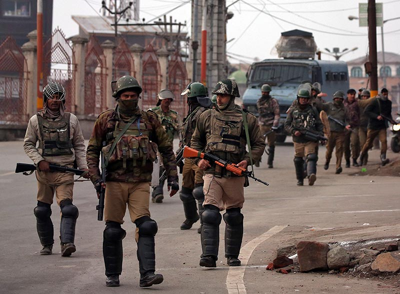 Indian Central Reserve Police Force (CRPF) personnel patrol a street in downtown Srinagar on February 23, 2019. Photo: Reuters
