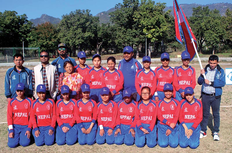 Nepali team members pose for a group photo after the fourth match of the International Women's Blind Cricket Series against Pakistan in Islamabad on Sunday. Photo Courtesy: NSJF