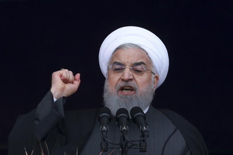 In this Monday, February 11, 2019, photo, Iranian President Hassan Rouhani speaks during a ceremony celebrating the 40th anniversary of the Islamic Revolution, at the Azadi, Freedom, Square in Tehran, Iran. Photo: AP