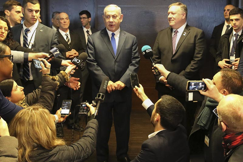 FILE - Israeli Prime Minister Benjamin Netanyahu, center left, and US Secretary of State Mike Pompeo, center right, address journalists on the sidelines of an international conference on the Middle East in Warsaw, Poland this thursday, February 14, 2019. Photo: AP