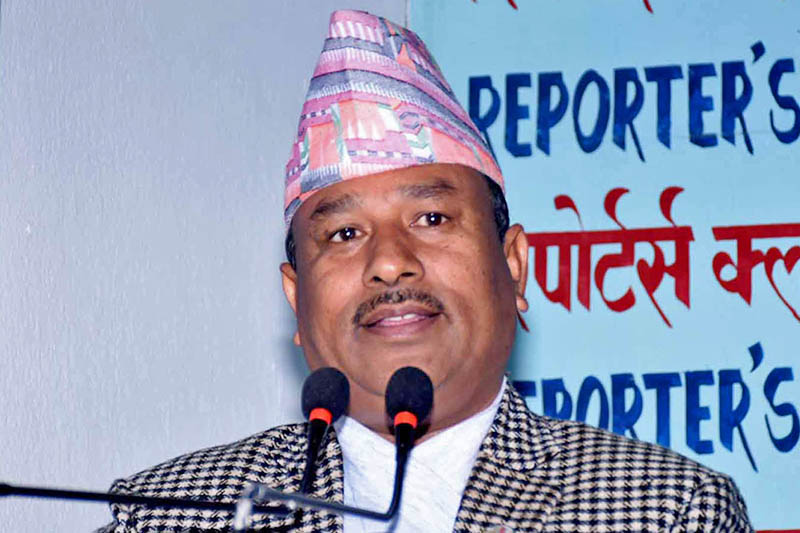 Minister for Youth and Sports Jagat Bahadur Bishwakarma speaks at a programme in Kathmandu, on Tuesday, February 05, 2019. Photo: RSS
