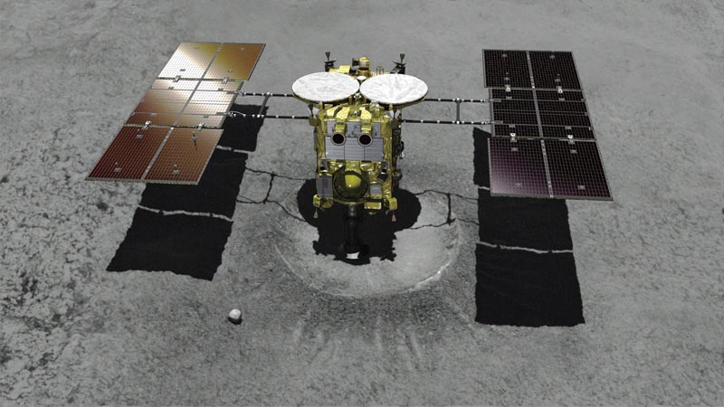 This computer graphic image provided by the Japan Aerospace Exploration Agency (JAXA) shows the Japanese unmanned spacecraft Hayabusa2 approaching on the asteroid Ryugu. Hayabusa2 is approaching the surface of an asteroid about 280 million kilometres (170 million miles) from Earth. Photo: JAXA via AP