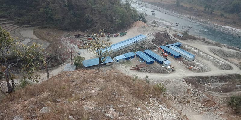 A view of Kabeli A Hydropower Project construction site on the border between Panchthar and Taplejung, on Monday. Photo: THT