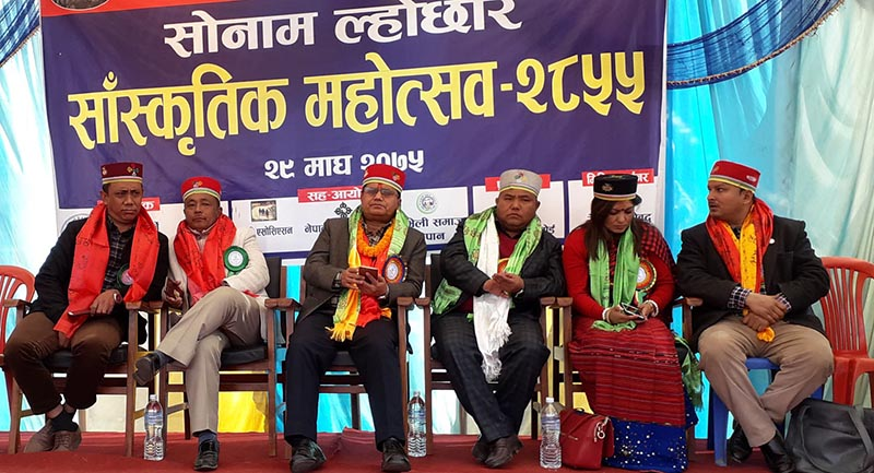 Minister for Culture, Tourism and Civil Aviation Rabindra Adhikari (third from left), former state minister Suryaman Dong, federal government lawmakers Ganga Bahadur Tamang and Nabina Lama, provincial lawmaker Ratna Dhakal among others participate in Sonam Lhosar Cultural Festival-2855 organised at Narayansthan in Temal Rural Municipality-5 of Kavrepalanchok district, on Tuesday, February 12, 2019. Photo: RSS