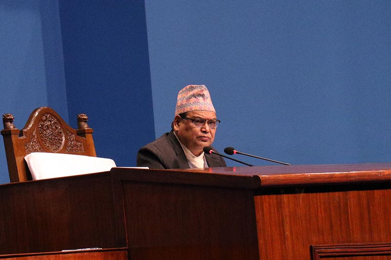 Speaker Krishna Bahadur Mahara attends the meeting of the House of Representatives at Federal Parliament Building, in New Baneshwor, Kathmandu, on Friday, February 8, 2019. Photo: RSS