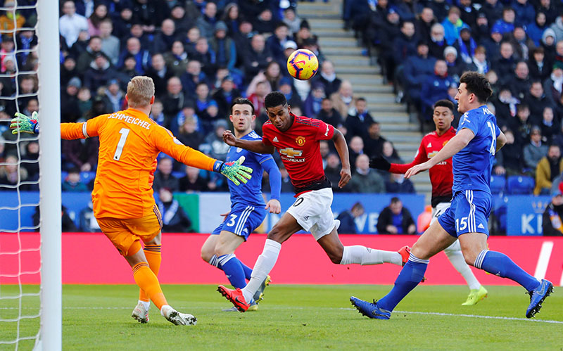 Manchester United's Marcus Rashford misses a chance to score during the Premier League match between Leicester City and Manchester United, at King Power Stadium, in Leicester, Britain, on February 3, 2019. Photo: Reuters