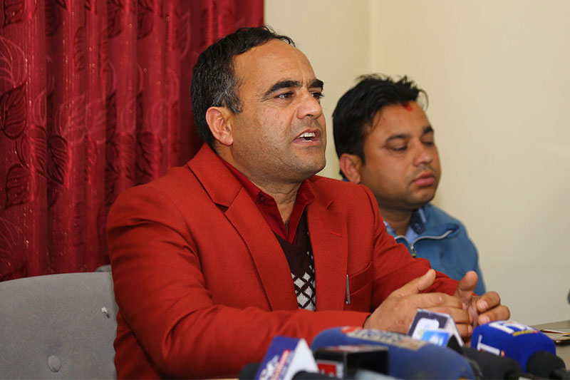 NSU chair Nain Singh Mahar speaks to media after stepping down from his post in Kathmandu, on Monday, February 11, 2019. Photo: RSS