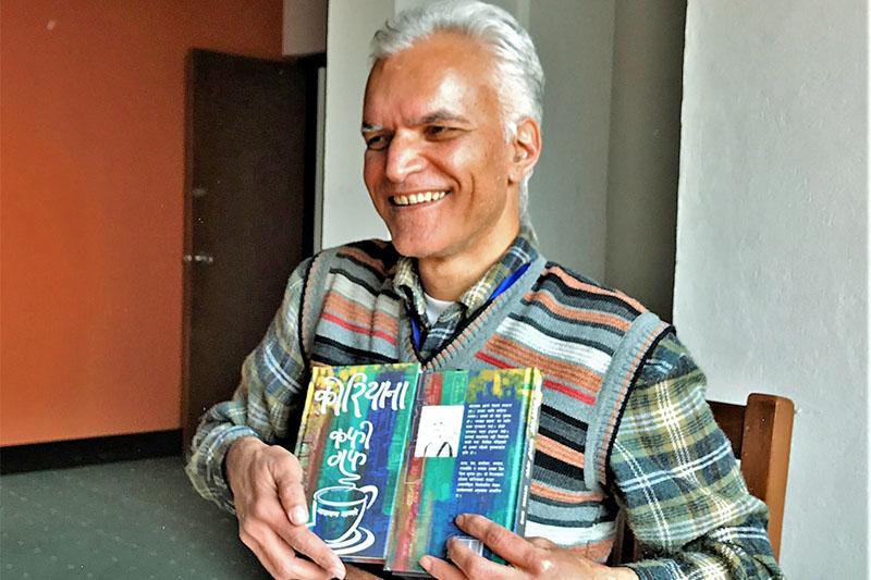 Journalist Narayan Wagle unveils his book 'Koreana Coffee' in Kathmandu, on Wednesday, February 13, 2019. Photo: Nepalaya