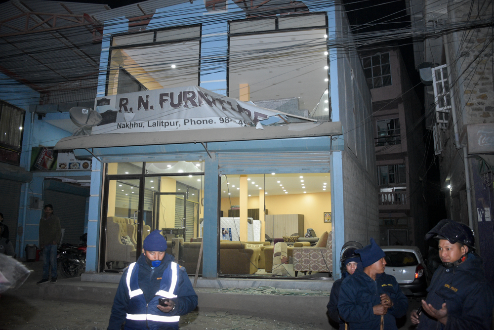 This image shows the  furniture shop besided the Ncell office in Nakkhu, Lalitpur, on Friday, February 22, 2019. The blast outside Ncell office left three people injured. Photo: Naresh Shrestha/THT