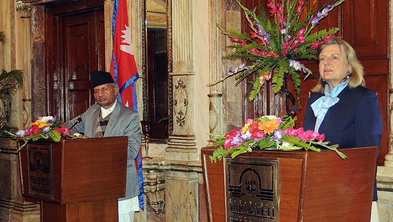 Minister of Foreign Affairs Pradeep Kumar Gyawali and Austrian Minister of Foreign Affairs Karin Kneissl addressing a joint press briefing, in Kathmandu, on Friday, February 22, 2019. Photo: Bal Krishna Thapa Chhetri/THT