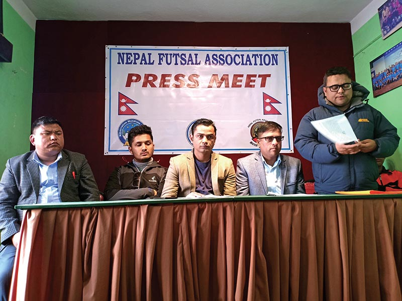 Nepal Futsal Association officials at a press meet in Kathmandu on Monday. Photo: THT