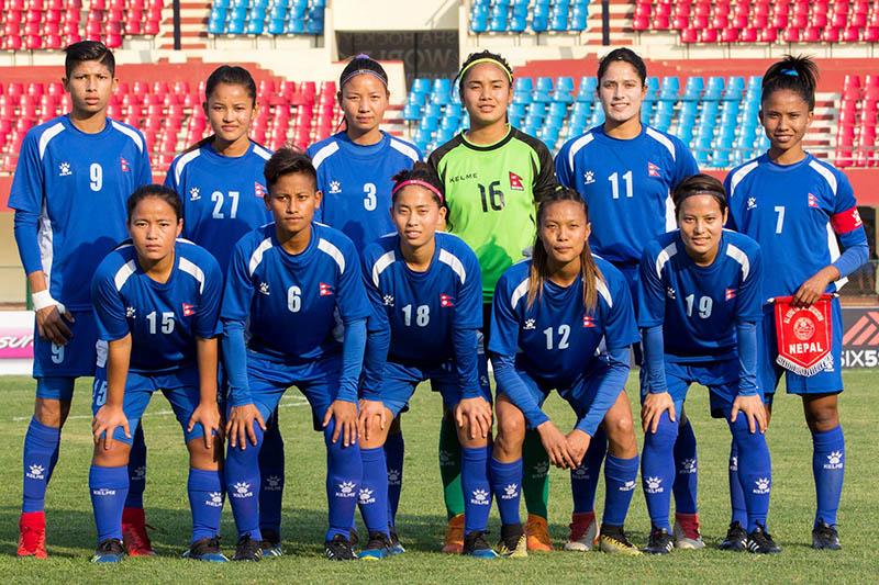 Nepal national women team pose for a portrait prior to their game against Iran today. Courtesy: ANFA