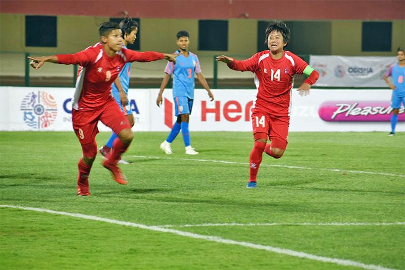 Nepali striker Sabitri Bhandari celebrates after scoring her brace against India. Courtesy: ANFA