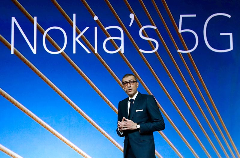 Rajeev Suri, Nokia's President and Chief Executive Officer, speaks during the Mobile World Congress in Barcelona, Spain on February 25, 2018. Photo: Reuters/File