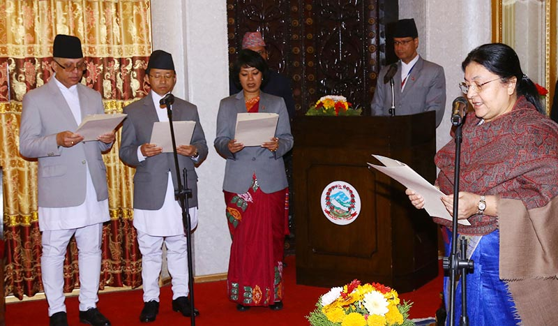 President Bidya Devi Bhandari administered oath of office and secrecy to three newly-appointed ambassadors u2014 Amrit Bahadur Rai, Mani Prasad Bhattarai  and Anjan Shakya u2014 at the Office of the President, in Shital Niwas, on Friday, February 8, 2019. Photo: RSS