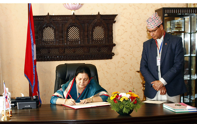 President Bidya Devi Bhandari authenticating bills endorsed by both the houses of the Federal Parliament, on Friday, February 22, 2019. Photo: Office of the President via RSS