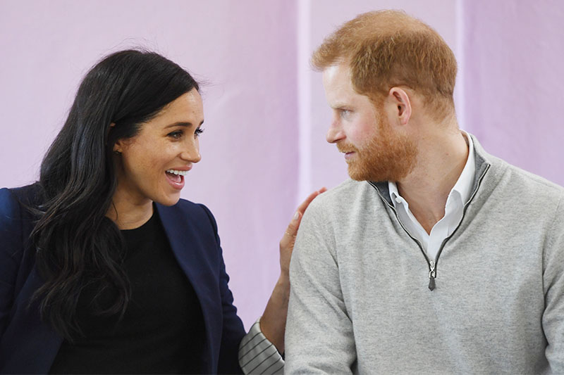 Britain's Prince Harry and Meghan, Duchess of Sussex visit a secondary school in Asni, Morocco, February 24, 2019. Photo: Reuters