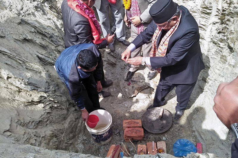 Nepal Communist Party (NCP) Co-chair Pushpa Kamal Dahal lays foundation stone of Martyr Dil Bahadur Ramtel Memorial Park, the under-construciton park, at Takukot in Barpak area of Sulikot Rural Municipality-6 in Gorkha district, on Wednesday, February 27, 21019. Photo: RSS
