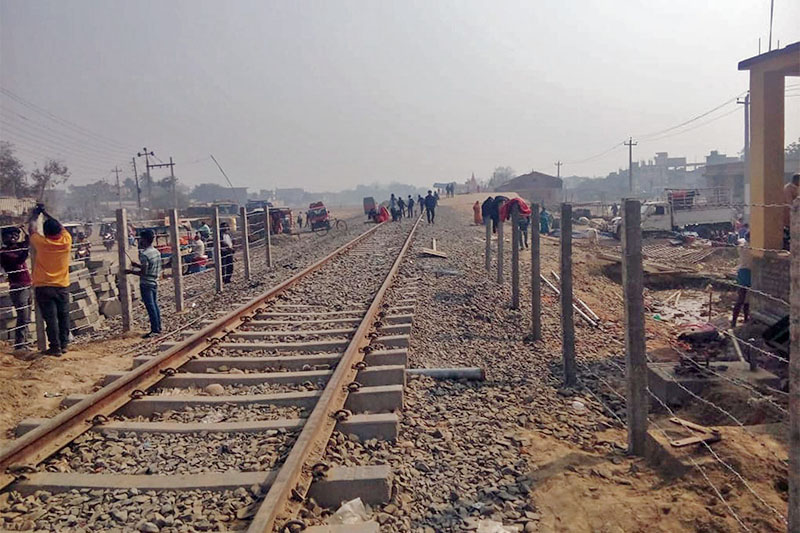 A view of Janakpur-Jayanagar railway track at Sitachowk in Janakpur, on Monday, February 04, 2019. Photo: RSS