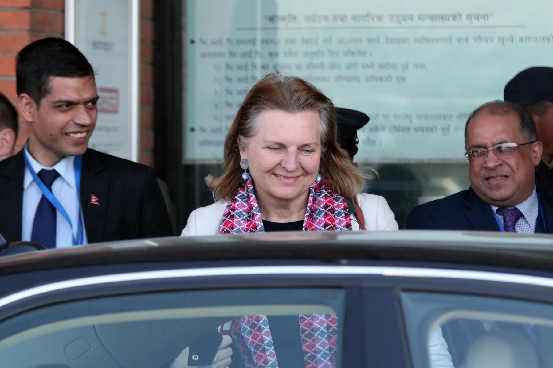 Austrian Minister of Foreign Affairs Karin Kneissl at Tribhuvan International Airport, in Kathmandu, on Thursday, February 21, 2019. Photo: RSS