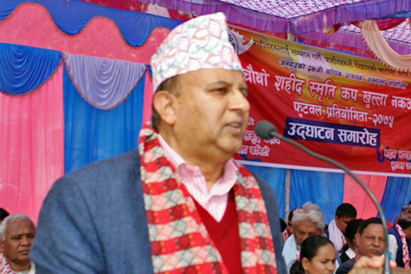 Province 5 Chief Minister Shankar Pokharel speaks at a programme in Butwal, on Wednesday, February 13, 2019. Photo: RSS