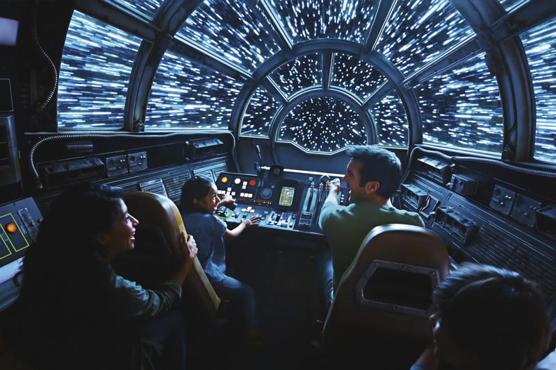 This rendering released by Disney and Lucasfilm shows people on the planned Inside Millennium Falcon: Smugglers Run attraction, part of Star Wars: Galaxy's Edge a 14-acre area set to open this summer at the Disneyland Resort in Anaheim, California, then in the fall at Disney's Hollywood Studios in Orlando, Florida. Photo: Disney Parks/Lucasfilm via AP