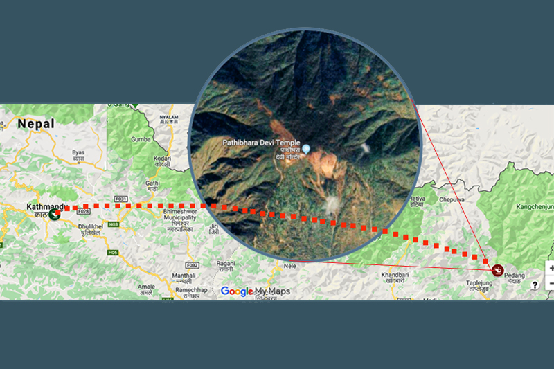 This image shows the location of the helicopter that crashed near Pathibhara Temple, in Taplejung district, on Wednesday, February 27, 2019. Image: Google Maps customisation/THT