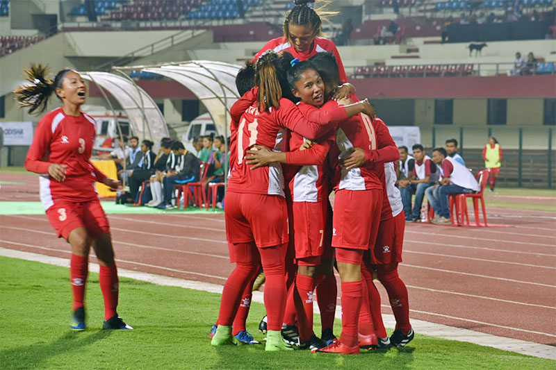 Nepali players celebrate after scoring against India during the Hero Women's Gold Cup in Bhuwaneshwor today. Courtesy: ANFA