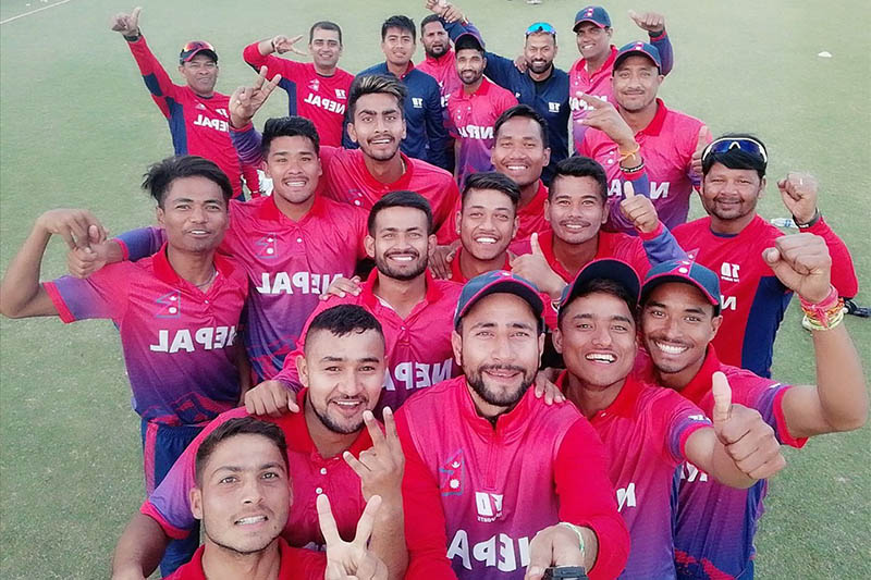 File: Members of Nepal cricket team pose for a selfie after securing a series win over UAE. Photo: Paras/Twitter