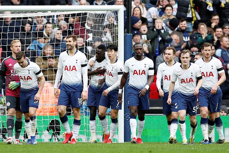 Tottenham's Davinson Sanchez celebrates scoring their first goal with team mates. Photo: Reuters