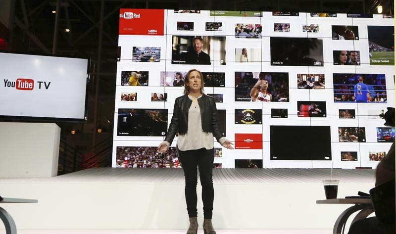 YouTube CEO Susan Wojcicki speaks during the introduction of YouTube TV at YouTube Space LA in Los Angeles on February 28, 2017. YouTubeu0092s year-in-review video within a week earned the unwelcome distinction of becoming the most disliked video on its own platform, ever. Photo: AP/File