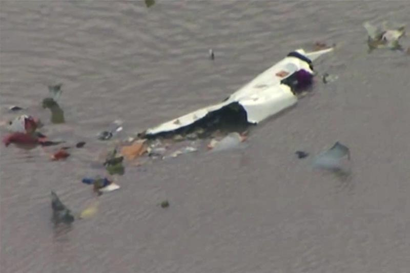 This image taken from video provided by KRIV FOX 26 shows the scene of a cargo plane crash on Saturday, February 23, 2019 in Trinity Bay, just north of Galveston Bay and the Gulf of Mexico in Texas. Photo: KRIV FOX 26 via AP