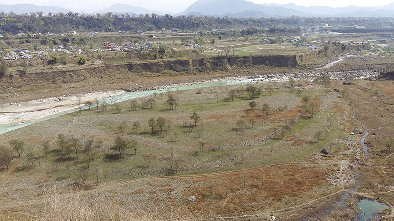 The location proposed by Gandaki Province government to build an international cricket ground at Pashupatighat area in Bharatpokhari, of Pokhara Metropolitan City-33, on February 27, 2019. Photo: RSS