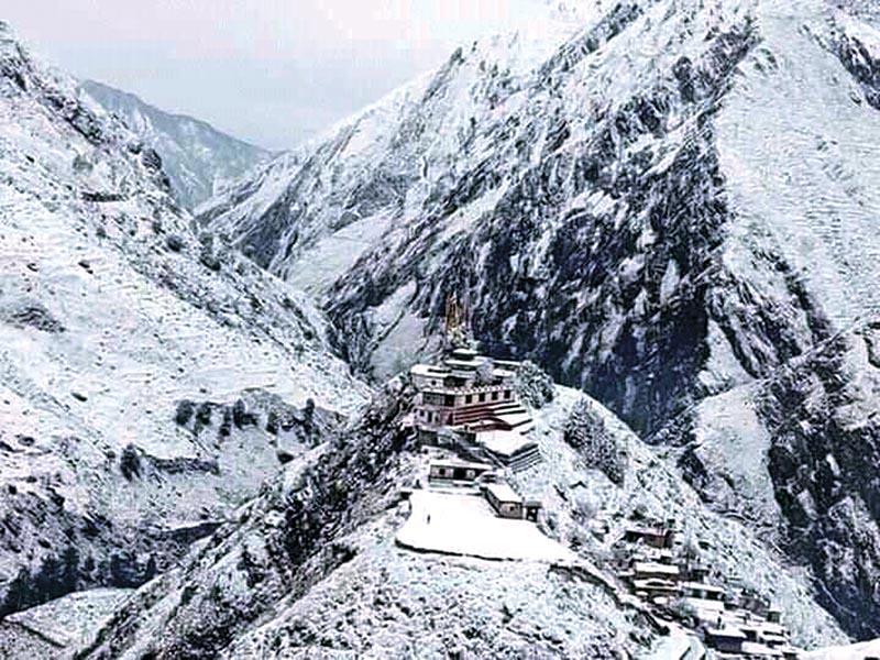 A view of Tripurasundari temple after snowfall, in Dolpa, on Saturday. Photos: THT/ RSS
