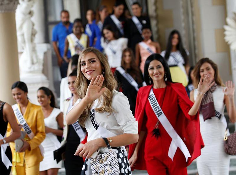 Miss Spain Angela Ponce, the first transgender woman to take part in the Miss Universe contest, visits the Government House with fellow contestants after their meeting with Thai Prime Minister Prayut Chan-o-cha (not pictured) to promote the event, at the Government House, in Bangkok, Thailand, on December 11, 2018. Photo: Narong Sangnak/Pool via Reuters