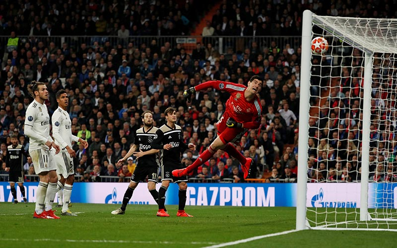 Ajax's Lasse Schone scores their fourth goal during the Champions League Round of 16 Second Leg match between Real Madrid and Ajax Amsterdam, at Santiago Bernabeu, in Madrid, Spain, on March 5, 2019. Photo: Reuters