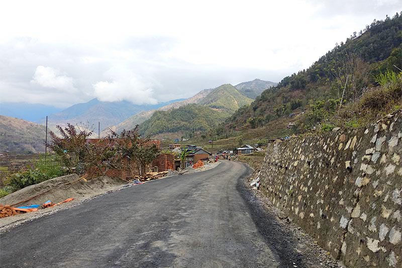 A view of tarmacked Belghari-Archalbot road section in Dordi Rural Municipality of Lamjung district, on Wednesday, February 27, 2019. Photo: Ramji Rana/THT