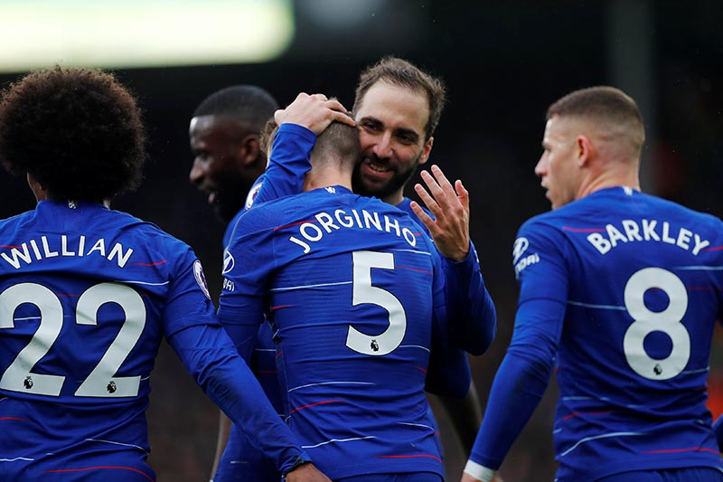 Chelsea's Jorginho celebrates scoring their second goal with team mates during the Premier League, at Fulham and Chelsea, on Craven Cottage, in London, Britain, on March 3, 2019. Photo: Reuters