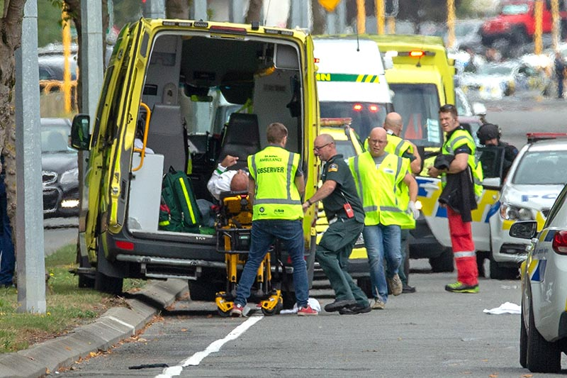 An injured person is loaded into an ambulance following a shooting at the Al Noor mosque in Christchurch, New Zealand, March 15, 2019. Photo: Reuters