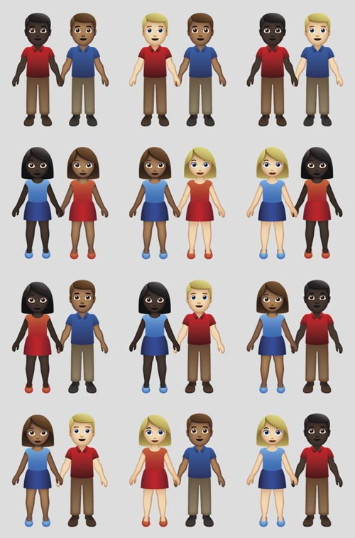 This undated illustration provided by Tinder/Emojination shows new variations of interracial emoji couples. Photo: Tinder/Emojination via AP