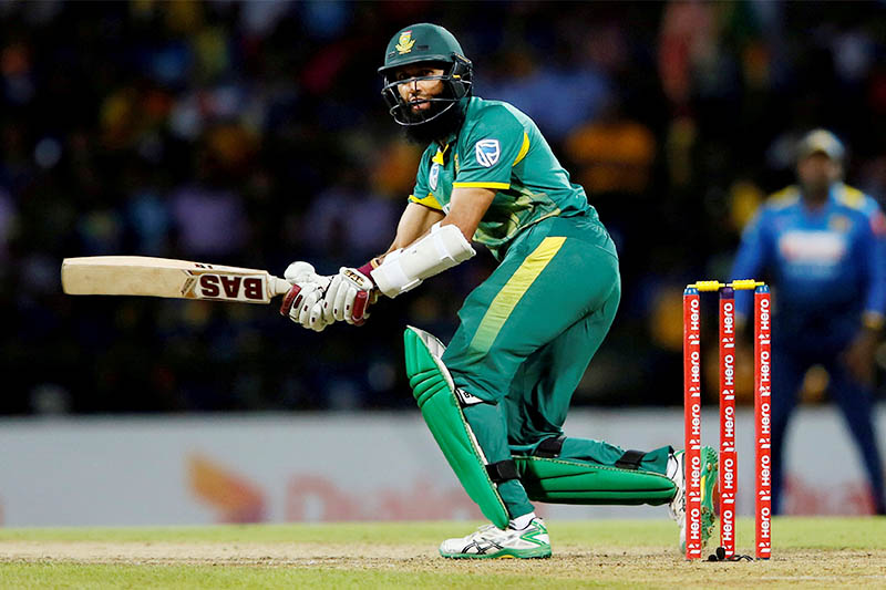 FILE PHOTO: South Africa's Hashim Amla watches his shot. Photo: Reuters