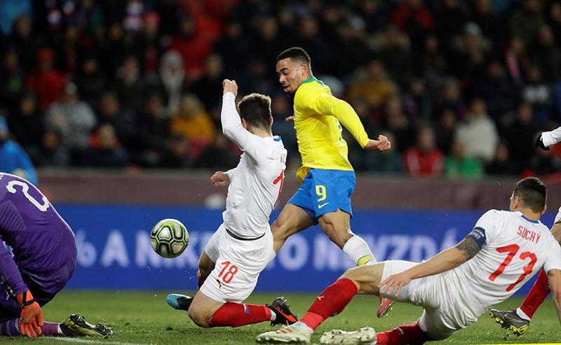 Brazil's Gabriel Jesus scores their third goal during the International Friendly match between Czech Republic and Brazil, at Eden Arena, in Prague, Czech Republic, on March 26, 2019. Photo: Reuters