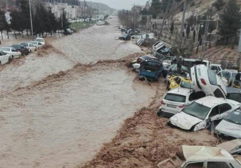 Vehicles are stacked one against another after a flash flooding in Shiraz, Iran, on Monday, March 25, 2019. Tasnim News Agency via Reuters