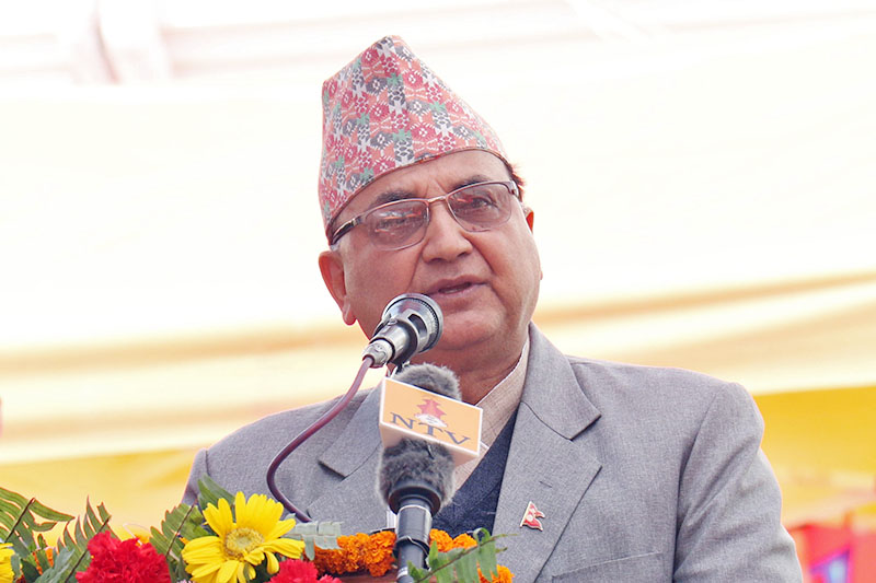 Minister for Defence Ishwor Pokhrel speaks at a programme in Kathmandu, on Monday, March 11, 2019. Photo: RSS