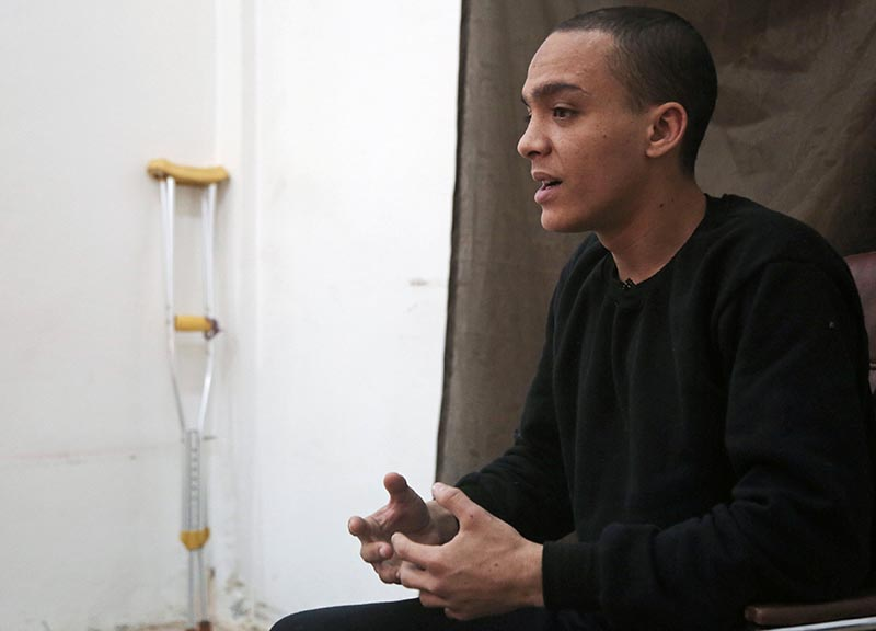 Mounsef al-Mkhayar, 22, an Islamic state fighter of Morrocan descent and Italian citizenship, gestures during an interview with Reuters, in Qamishli, Syria March 9, 2019. Photo: Reuters