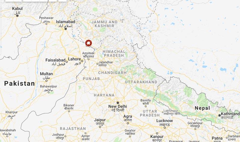 Jammu grenade explosion. Photo: Google Maps